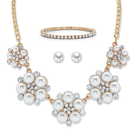 """Graduated Simulated Pearl and Crystal Goldtone 3-Piece Stud Earring, Bib Necklace and Stretch Bracelet 17""""-20"""" at PalmBeach Jewelry"""