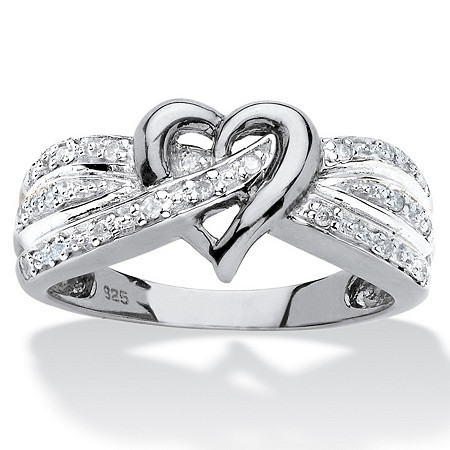 Round Diamond Crossover Heart Promise Ring 1/10 TCW in Platinum Over Sterling Silver at PalmBeach Jewelry