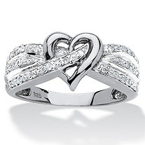Round Diamond Crossover Heart Promise Ring 1/10 TCW in Platinum Over Sterling Silver