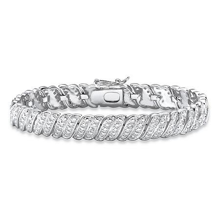 "Diamond-Cut Diamond Accent S-Link Bracelet Platinum-Plated 7.5"" at PalmBeach Jewelry"
