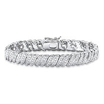 SETA JEWELRY Diamond-Cut Diamond Accent S-Link Bracelet Platinum-Plated 7.5