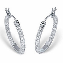 SETA JEWELRY Round Diamond Accented Inside-Out Hoop Earrings 1/10 TCW in Platinum over Sterling Silver (1