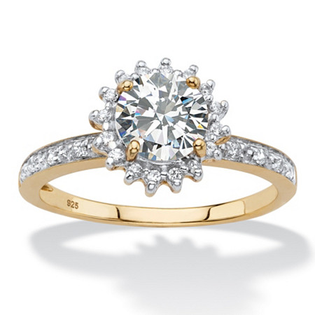 Round Created White Sapphire and Diamond Accent Halo Engagement Ring 1.86 TCW in 18k Gold over Sterling Silver at PalmBeach Jewelry