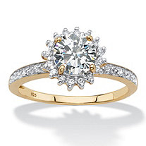 Round Created White Sapphire and Diamond Accent Halo Engagement Ring 1.86 TCW in 18k Gold over Sterling Silver