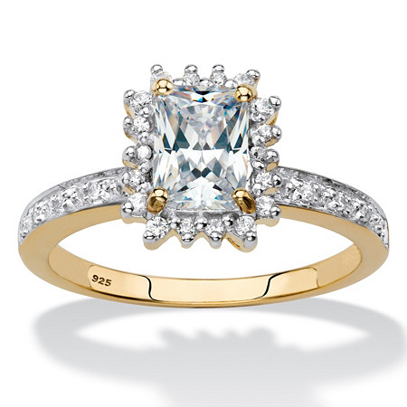 Emerald-Cut Created White Sapphire and Diamond Accent Halo Engagement Ring 1.60 TCW in 18k Gold over Sterling Silver at PalmBeach Jewelry
