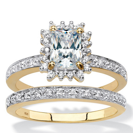 Emerald-Cut Created White Sapphire and Diamond 2-Piece Halo Wedding Ring Set 1.40 TCW in 18k Gold over Sterling Silver at PalmBeach Jewelry