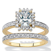 Emerald-Cut Created White Sapphire and Diamond 2-Piece Halo Wedding Ring Set 1.40 TCW in 18k Gold over Sterling Silver