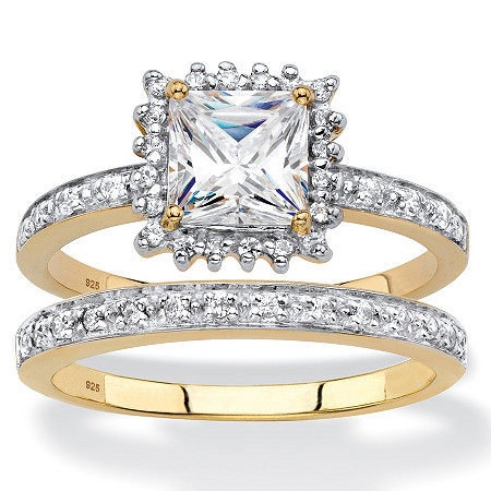 Princess-Cut Created White Sapphire and Diamond 2-Piece Halo Wedding Ring Set 1.64 TCW in 18k Gold over Sterling Silver at PalmBeach Jewelry