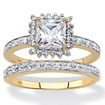 Princess-Cut Created White Sapphire and Diamond 2-Piece Halo Wedding Ring Set 1.64 TCW in 18k Gold over Sterling Silver