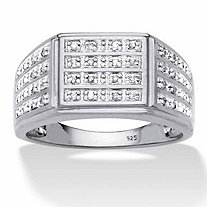 SETA JEWELRY Men's Pave Diamond Multi-Row Grid Ring 1/6 TCW in Platinum over Sterling Silver