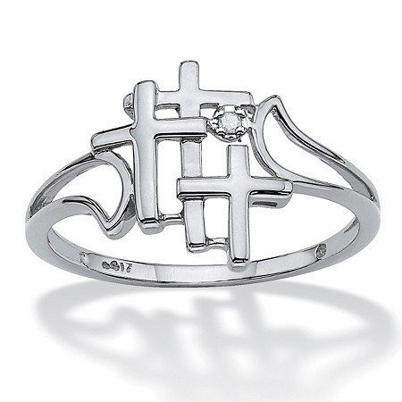 Diamond Accent Triple Cross Ring in Solid 10k White Gold at PalmBeach Jewelry