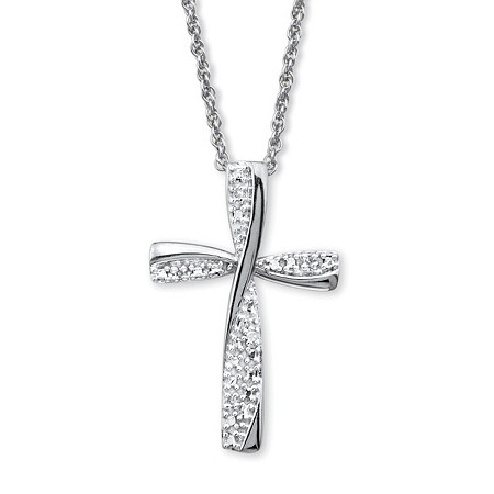 "Diamond Accent Cross Pendant Necklace in Platinum over Sterling Silver 18"" at PalmBeach Jewelry"