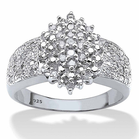 Round Diamond Marquise-Shaped Cluster Ring 1/4 TCW in Platinum over Sterling Silver at PalmBeach Jewelry