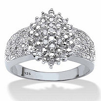 Round Diamond Marquise-Shaped Cluster Ring 1/4 TCW in Platinum over Sterling Silver