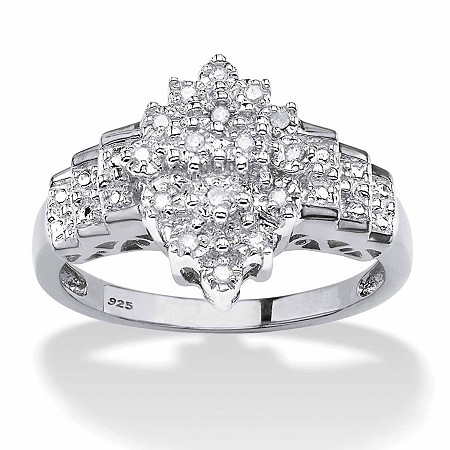 Round Diamond Marquise-Shaped Step Ring 1/10 TCW in Platinum over Sterling Silver at PalmBeach Jewelry