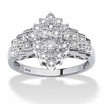 Round Diamond Marquise-Shaped Step Ring 1/10 TCW in Platinum over Sterling Silver