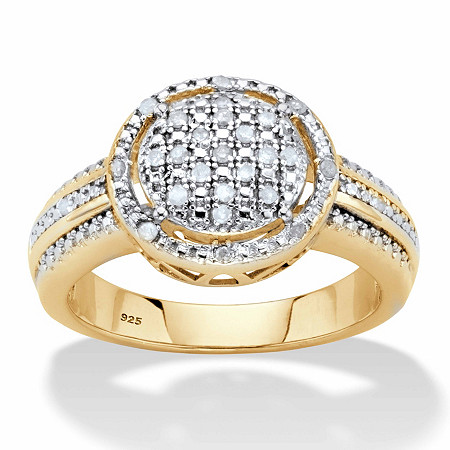 Round Diamond Cluster Floating Halo Engagement Ring 1/8 TCW in 18k Gold over Sterling Silver at Direct Charge presents PalmBeach