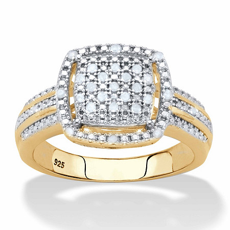 Diamond Squared Cluster Floating Halo Engagement Ring 1/8 TCW in 18k Gold over Sterling Silver at PalmBeach Jewelry