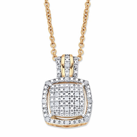"""Diamond Squared Cluster Halo Two-Tone Pendant Necklace 1/10 TCW in 18k Gold over Sterling Silver 18""""-20"""" at PalmBeach Jewelry"""