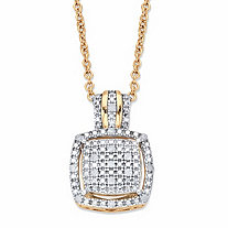 Diamond Squared Cluster Halo Two-Tone Pendant Necklace 1/10 TCW in 18k Gold over Sterling Silver 18