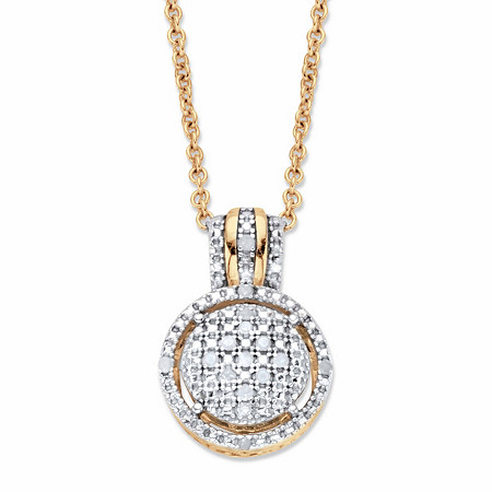 """Round Diamond Accent Two-Tone Floating Halo Cluster Pendant Necklace in 18k Gold over Sterling Silver 18""""-20"""" at PalmBeach Jewelry"""
