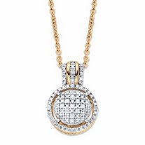 Round Diamond Accent Two-Tone Floating Halo Cluster Pendant Necklace in 18k Gold over Sterling Silver 18