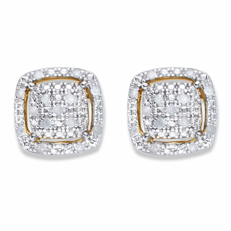 Diamond Squared Cluster Halo Button Earrings 1/8 TCW in 18k Gold over Sterling Silver at PalmBeach Jewelry