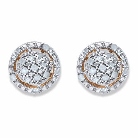 Round Diamond Floating Halo Cluster Button Earrings 1/8 TCW in 18k Gold over Sterling Silver at PalmBeach Jewelry