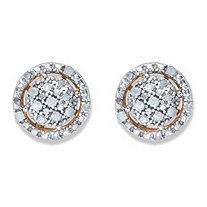 Round Diamond Floating Halo Cluster Button Earrings 1/8 TCW in 18k Gold over Sterling Silver