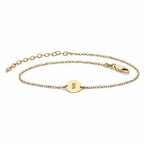 Personalized Round Circle Disc Charm Ankle Bracelet in 18k Gold over Sterling Silver 10