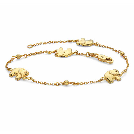 "Elephant Beaded Station Ankle Bracelet in 18k Gold over Sterling Silver 10"" at PalmBeach Jewelry"