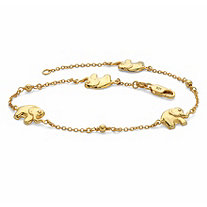 Elephant Beaded Station Ankle Bracelet in 18k Gold over Sterling Silver 10""