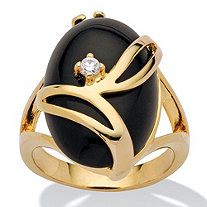 Oval-Shaped Onyx and Crystal Accent Cocktail Ring in 14k Gold-Plated