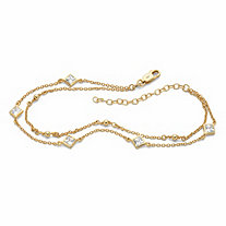 Princess-Cut Cubic Zirconia Station Ankle Bracelet 1.85 TCW in 18k Gold over Sterling Silver 11""
