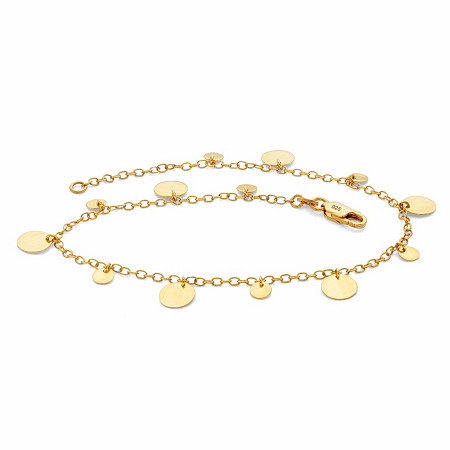 "Round Circle Disc Charm Ankle Bracelet in 18k Gold over Sterling Silver 10"" at PalmBeach Jewelry"