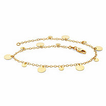 Round Circle Disc Charm Ankle Bracelet in 18k Gold over Sterling Silver 10