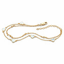 SETA JEWELRY Heart-Shaped Genuine Mother-of-Pearl Charm Ankle Bracelet in 18k Gold over Sterling Silver 11