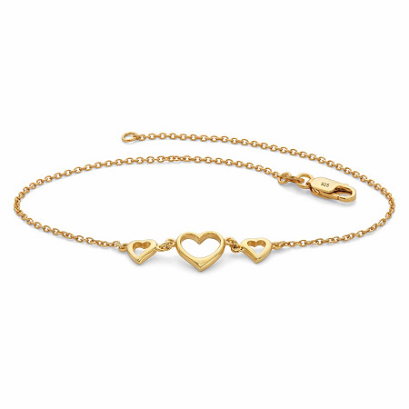 """Triple-Heart Ankle Bracelet in 18k Gold over Sterling Silver 10"""" at PalmBeach Jewelry"""