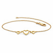 SETA JEWELRY Triple-Heart Ankle Bracelet in 18k Gold over Sterling Silver 10