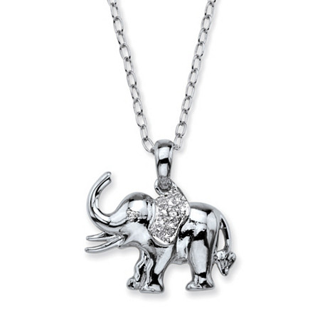 """Diamond Accent Pave-Style Elephant Charm Pendant Necklace in Silvertone 18"""" at PalmBeach Jewelry"""