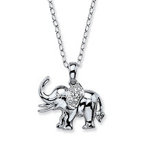 SETA JEWELRY Diamond Accent Pave-Style Elephant Charm Pendant Necklace in Silvertone 18