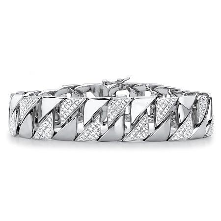 "Men's Diamond Accent Interlocking-Link Bracelet in Silvertone 8.5"" at PalmBeach Jewelry"