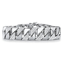 Men's Diamond Accent Interlocking-Link Bracelet in Silvertone 8.5""
