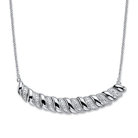 "Diamond Accent Silvertone Graduated S-Link Bib Necklace 18"" at PalmBeach Jewelry"