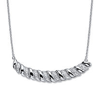 Diamond Accent Silvertone Graduated S-Link Bib Necklace 18