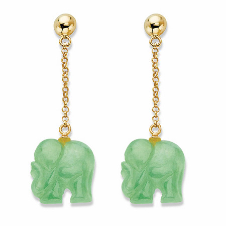 "Genuine Green Jade Drop Earrings in Gold Tone over Sterling Silver 1.75"" at PalmBeach Jewelry"