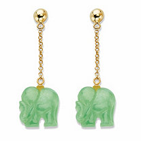 Genuine Green Jade Drop Earrings in Gold Tone over Sterling Silver 1.75