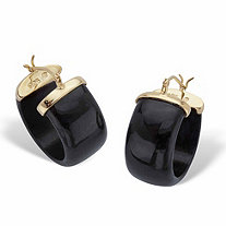 Genuine Black Jade Hoop Earrings in Gold Tone over Sterling Silver 3/4