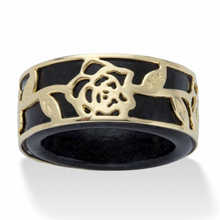 Gold Tone over Sterling Silver Genuine Black Jade Floral Overlay Ring at PalmBeach Jewelry