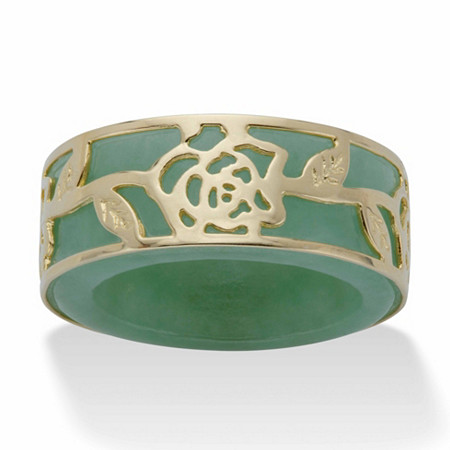 Genuine Green Jade Floral Overlay Ring Band in Gold Tone over Sterling Silver at PalmBeach Jewelry